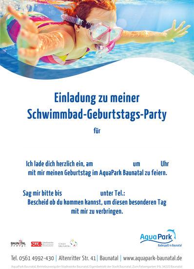 einladung kindergeburtstag schwimmbad – sleepwells, Einladungsentwurf